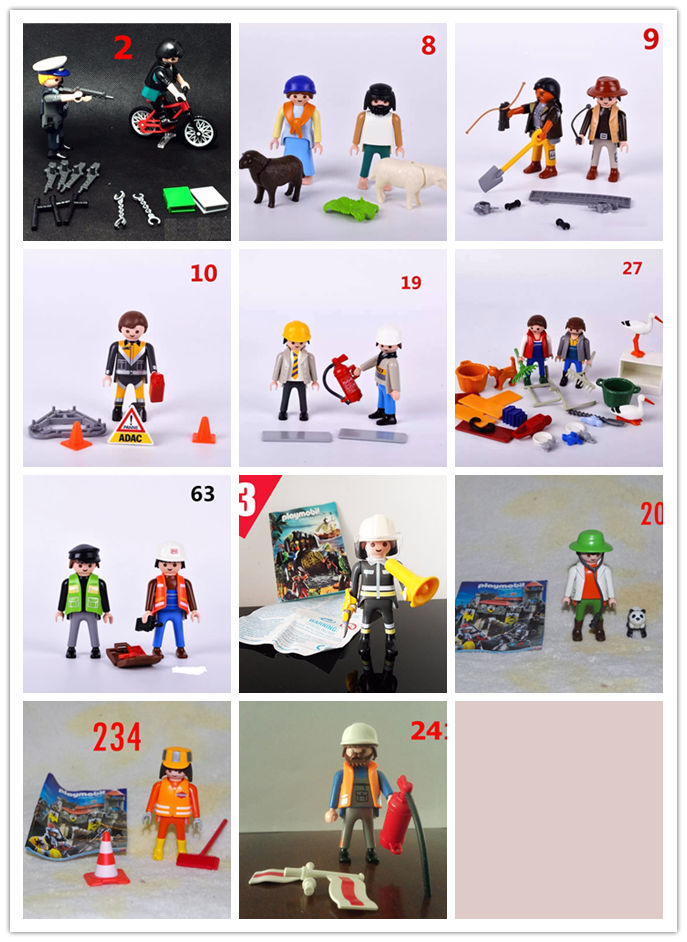 Mutilstyles playmobil kits Action Figures Collectible Anime Toys mini figure Child Toys gift firefighter policeman farmer worker 12pcs set children kids toys gift mini figures toys little pet animal cat dog lps action figures