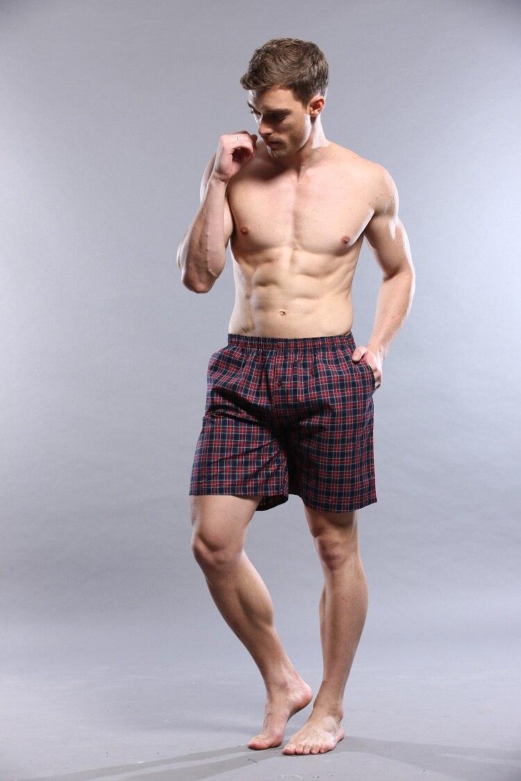 Male 100% Cotton Pajama Pants Plaid Shorts Four Angle Panties 100% Cotton Casual Male 1111868 Lounge Pants