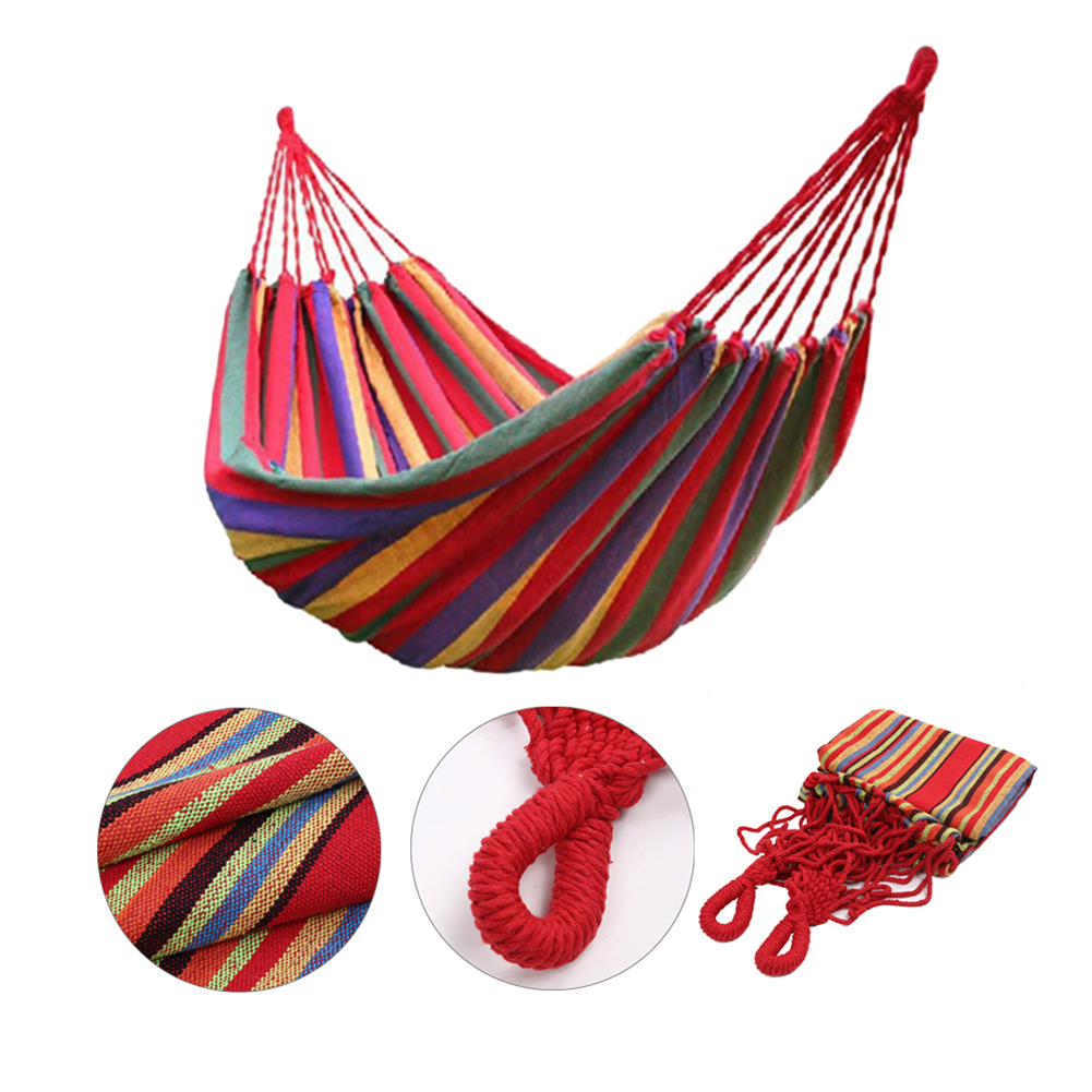 Portable Outdoor Hammock Garden Sports Home Travel Camping Swing Canvas Stripe Hang Bed Hammock 200 x 80 cm outdoor sleeping parachute hammock garden sports home travel camping swing nylon hang bed double person hammocks hot sale