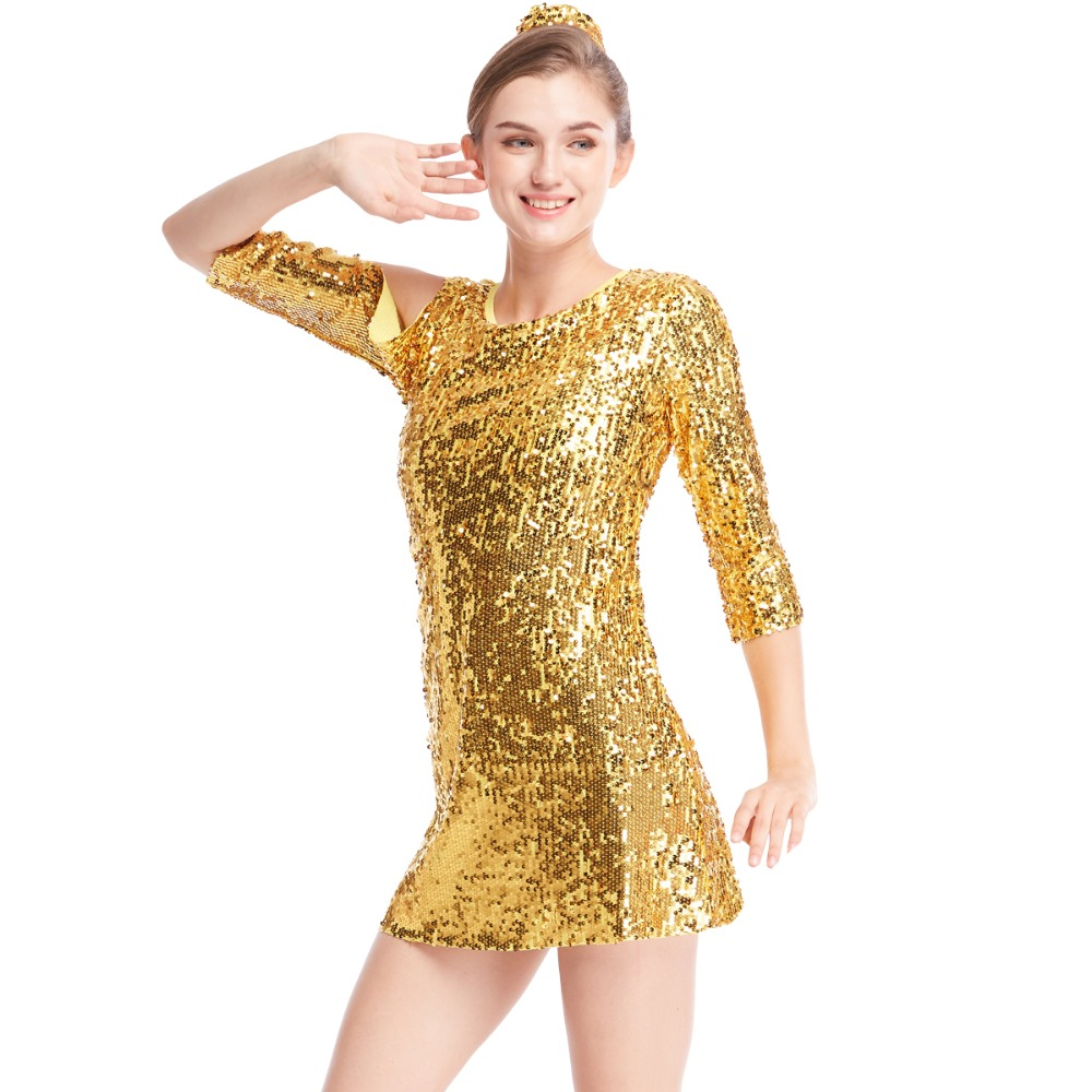 Fully Sequined Jazz Dress Dance Costumes Performance Wear 3/4 Sleeves