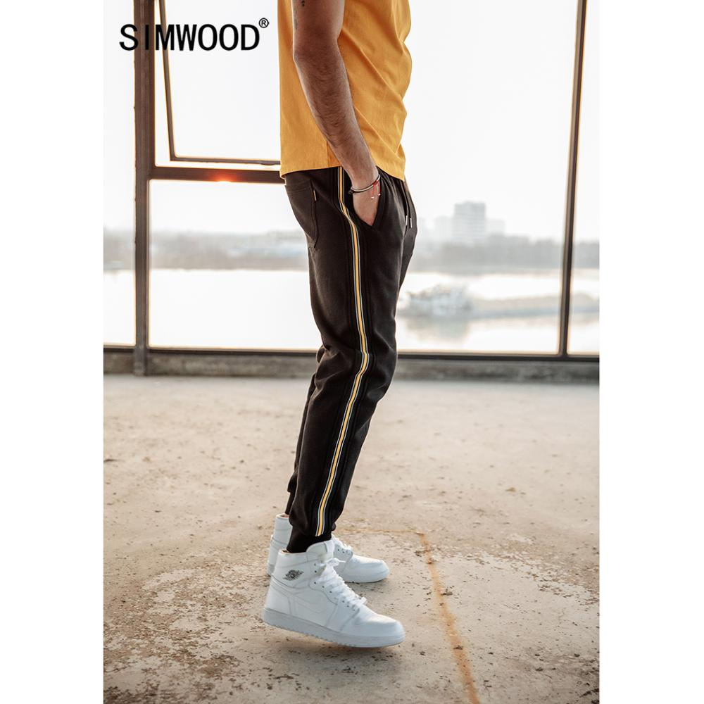 SIMWOOD Side Contrast Stripe Joggers Pants Men 2019 Autumn Winter Drawstring Cotton Track Pants Casual Trousers 190197