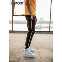 SIMWOOD side contrast stripe joggers men 2019 spring summer drawstring cotton