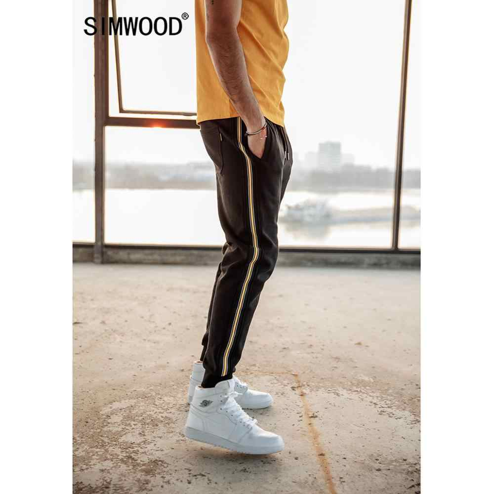 SIMWOOD side contrast stripe joggers pants men 2019 spring summer drawstring cotton track pants casual trousers 190197