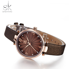 Shengke Leather Lady Watch Flower Dial Female Quartz Watch Quartz Analog Female Watch Casual Women Watch Clock Tower Woman fresh green beige nylon dial women s novel bamboo analog watch minimalism wood female genuine leather clock reloj de madera 2017