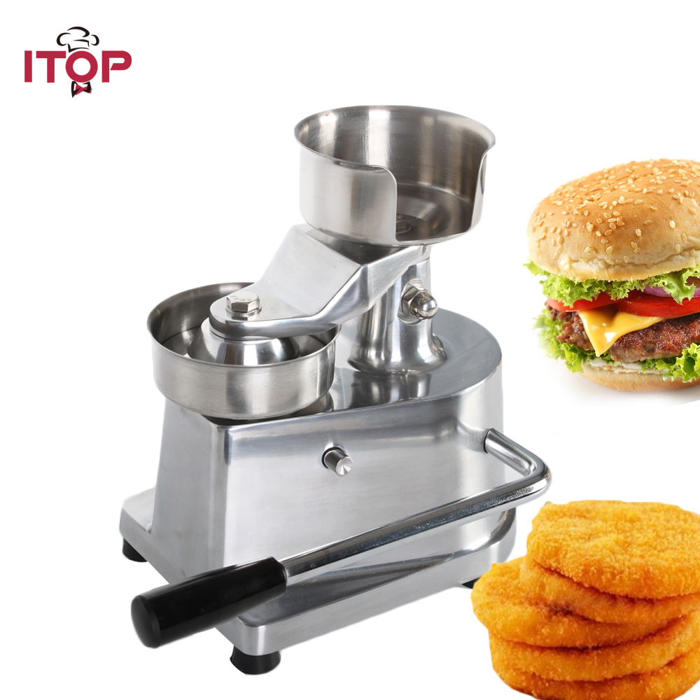 ITOP 100mm/130mm Manual Hamburger Press Burger Forming Machine Patty Maker Round Meat Pie Shapping machine professioin commercial 100mm hamburger press patty machine bread patty forming machine