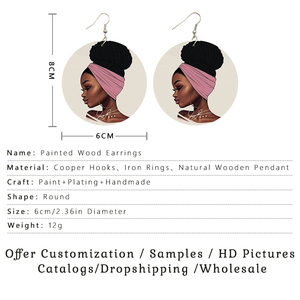 Image 5 - SOMESOOR 6CM Flat Round Custom African Wooden Drop Earrings Dangle Afro Personalized Photo Print Pendant Jewelry For Women Gift