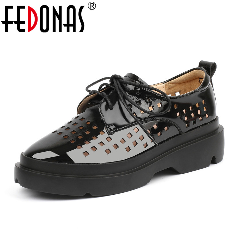 FEDONAS 2020 Spring Autumn Women Flats Platforms Casual Shoes Woman Comfortable Patent Leather Lace Up Ladies