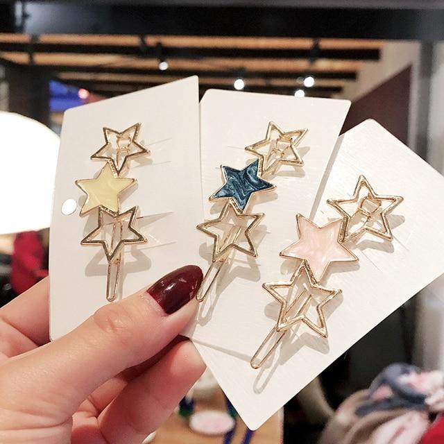 Nueva moda chicas dorado/plateado Metal triangular círculo Luna pelo Clips Metal círculo horquillas accesorios para el cabello TSLM2