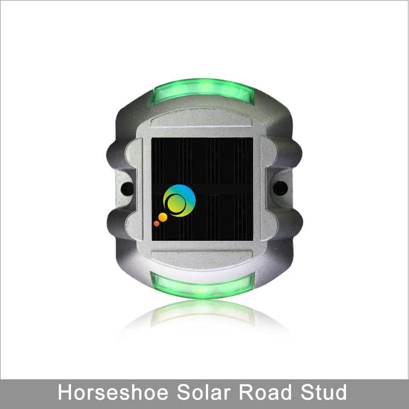 High Brightness Green Light Horseshoe Shape 3M Reflector Aluminium LED Solar Road Stud