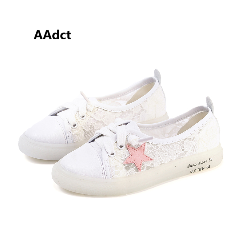AAdct girls shoes Mesh soft sole summer Lace canvas kids shoes for girls sneakers 2018 All-match children casual shoes princess