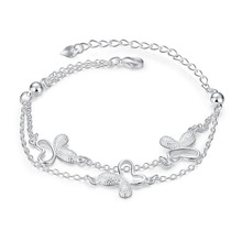 Adjustable Charms Bracelet For Women Girl Children Gift Cute Butterfly Chians Jewelry Silver Plated Bracelet Bangle Wholesale