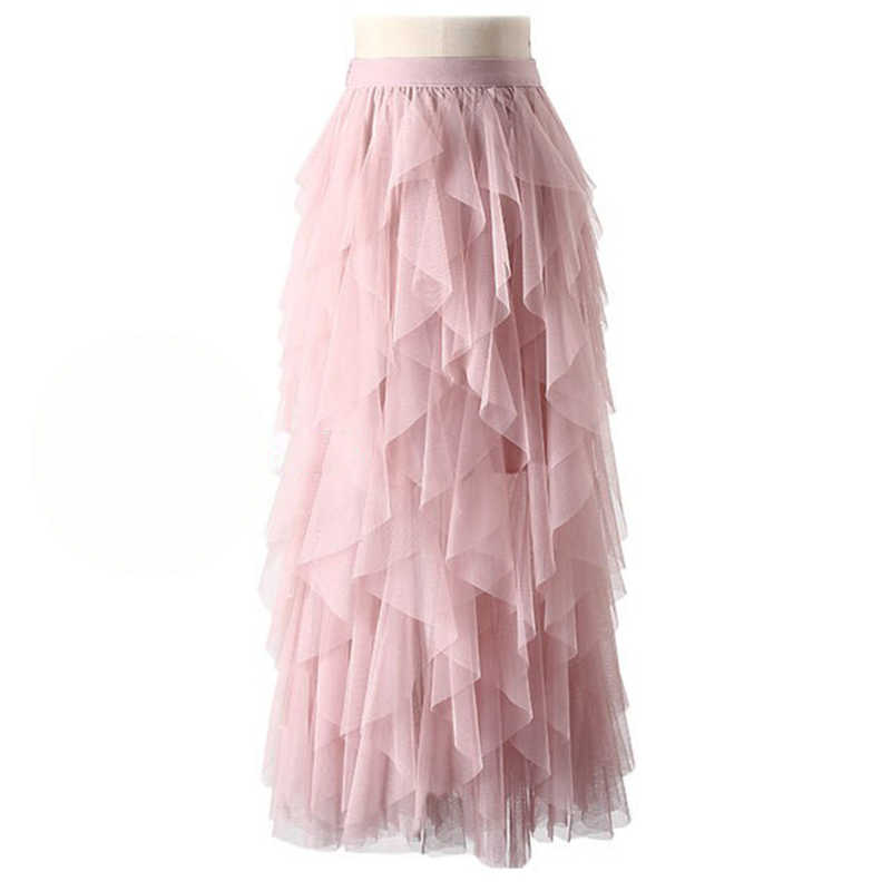 334a3b49c2d Detail Feedback Questions about Lace Tulle Skirt Women 2018 Korean Fashion  High Waist Elegant Long Maxi Skirt Female Mesh Tiered Irregular Pleated  Skirts on ...