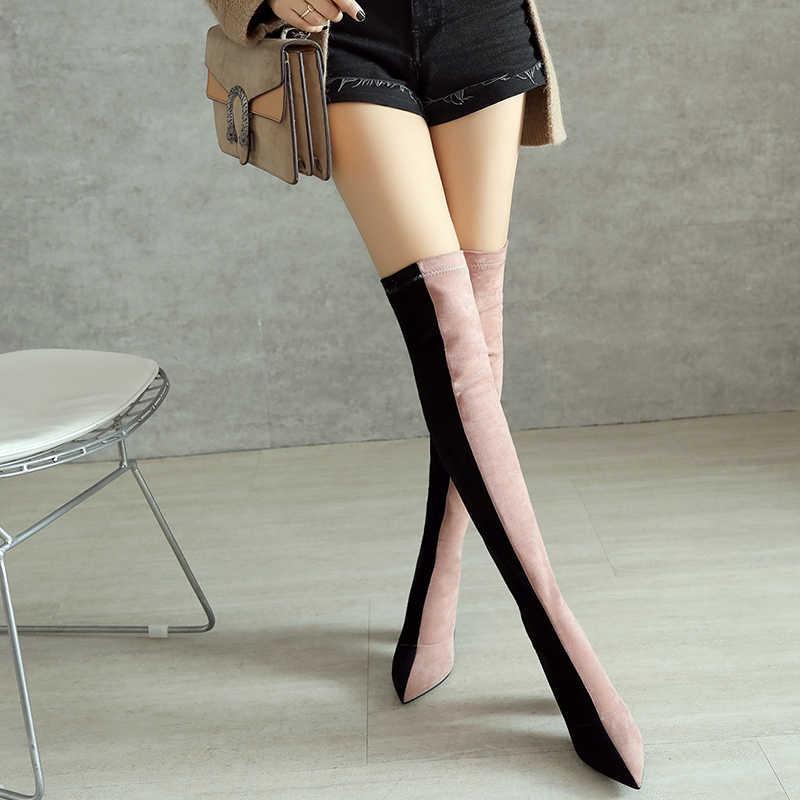 Prova Perfetto Renk Bloğu Kadın Uyluk Yüksek Çizmeler Slim Fit Elastik Çorap Çizme Kadın 8 CM Yüksek Topuk Üzerinde diz Boot Botas Mujer