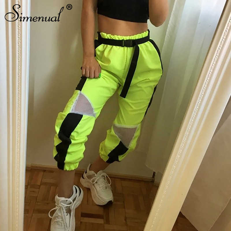 Simenual Neon Green Streetwear Cargo Pants Women Patchwork High Waist Long Trousers Mesh Casual Fashion 2019 Harem Pants Summer
