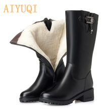 AIYUQI Women Wool Snow Boots 2019  Genuine Leather Winter Big Size 41 42 Knight Shoes