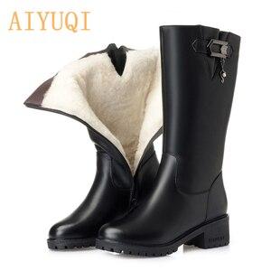 Image 1 - AIYUQI kobiety wełniane śniegowce 2020 kobiet prawdziwej skóry kobiet zimowe buty zimowe duże rozmiary 41 42 kobiet rycerz buty buty