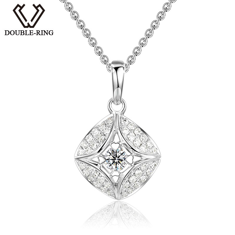 DOUBLE-R Natural Diamond Pendant Square Shape With Silver Chain 18K White Gold Necklace New Diamond Jewelry Mother's Day Gift yoursfs 18k rose white gold plated letter best mum heart necklace chain best mother s day gift
