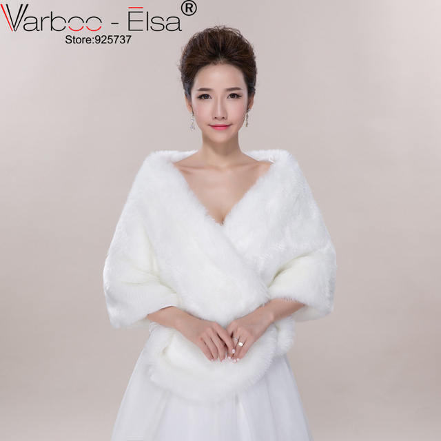 Free Shipping Fur Wrap Shrug Bolero Bridal Shawl Ivory Wedding Jacket Dress Shrugs Hot