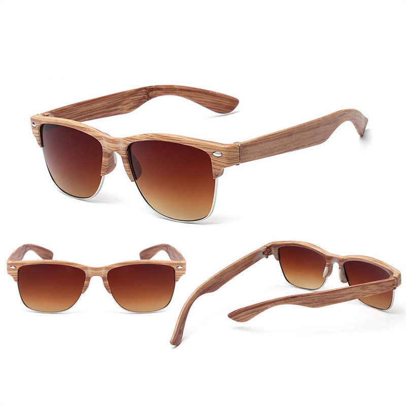 2019 new fashion imitation wood ladies sunglasses classic brand design half frame men's glasses UV400 retro driving goggles