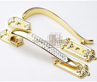 128 mm moda de lujo de madera de la puerta decoración de muebles manijas manijas oro gabinete de la cocina blanca wardronbe armario puerta del armario tire 5
