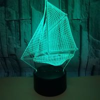 New Sailing Vessel 3d Nightlight Usb Powered 7 color Table Moderne Desk Lamp Touch Led Visual Light Gift 3d Usb Table Lamp