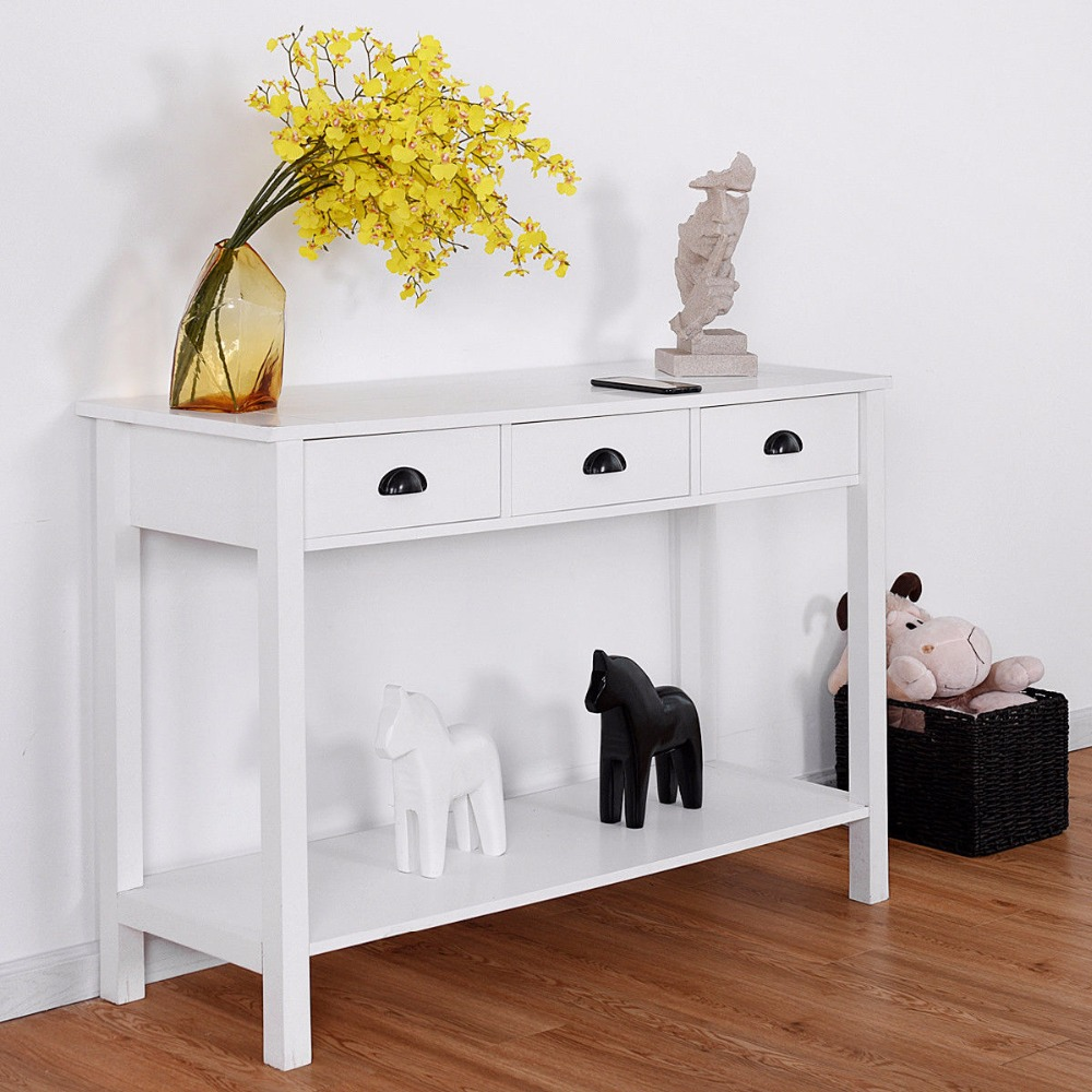 Giantex 47 Console Table Hall Table Side Desk Accent Table Drawers Shelf Entryway White Home Furniture HW58628 800 wires soft silver occ alloy teflo aft earphone headphone cable for sennheiser hd414 hd420 hd430 hd650 hd600 hd580 ln05400