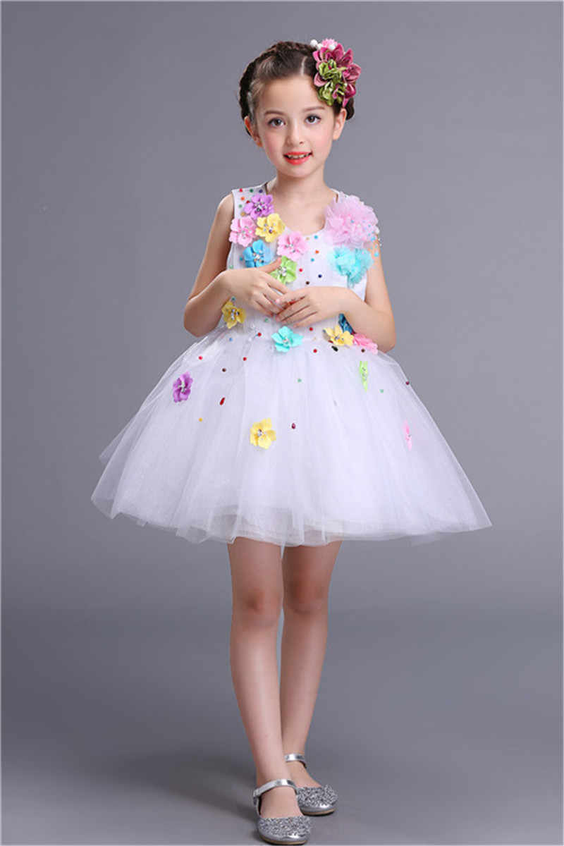04a6551c243d2 Red Pink White Princess Party Wear Lovely Gift Children Girls Wedding  Pageant Formal Gown Beautiful Green Dress for Girls 2-13Y