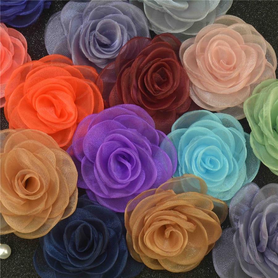 5pcs Handmade Flower Brooch Bud Silk Yarn Wedding Suits Lapel Pin