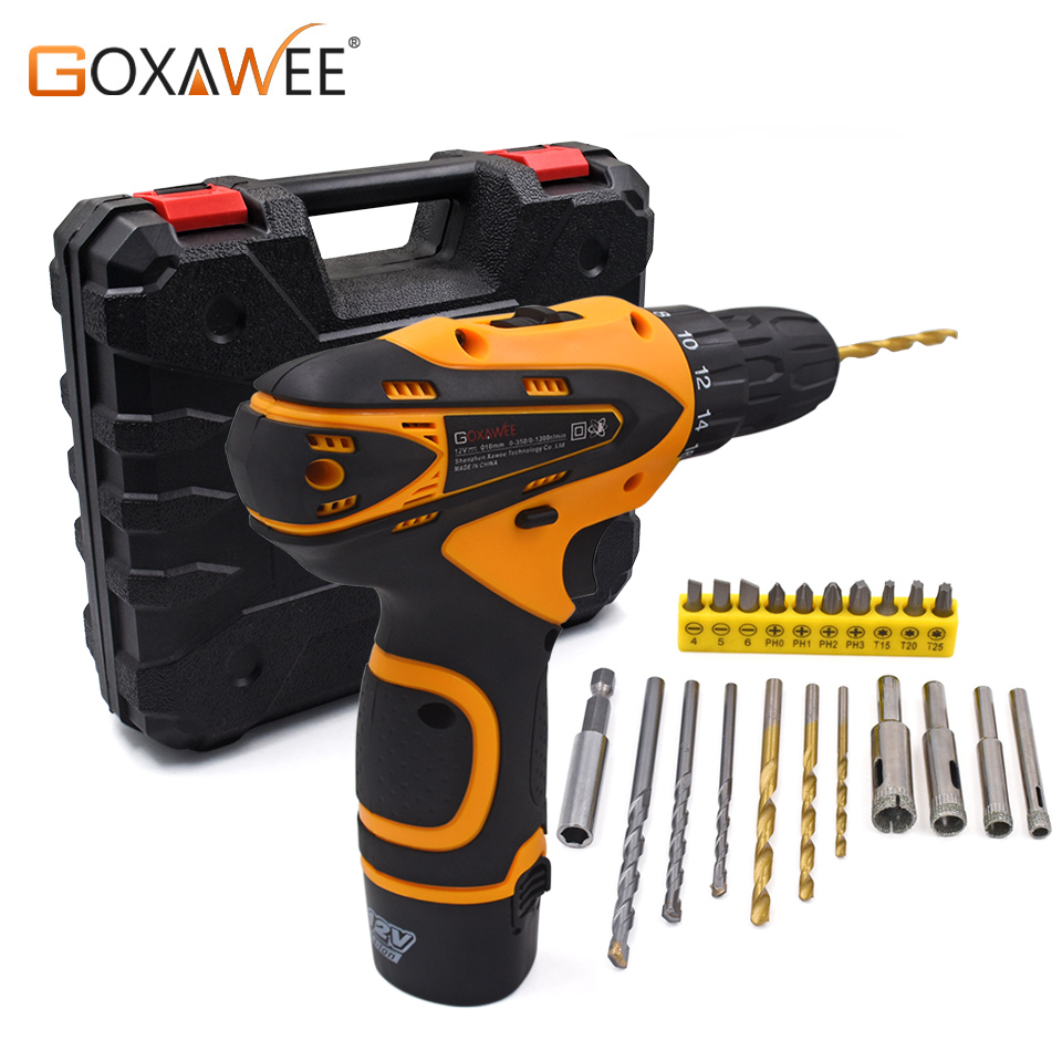 GOXAWEE 12V Two Speed Electric Screwdriver Cordless Drill Mini Wireless Power Driver DC Lithium-Ion Battery With Carry Case desoon de12dc 12v max electric screwdriver cordless drill mini wireless power driver dc lithium ion battery 3 8 inch 2 speed