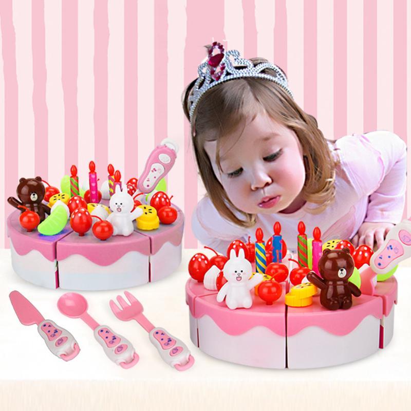 39Pcs Birthday Cake Kitchen Toys DIY Model Children Kids Early Educational Pretend Play Kitchen Food Plastic Toys