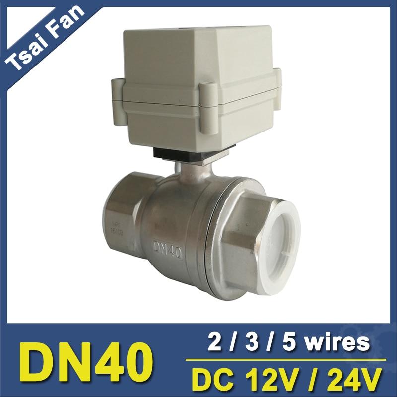 DC12V/24 В Нержавеющаясталь 304 1-1/2 ''DN40 полный Порты и разъёмы шаровых клапан 2 Way из металла Шестерни IP67 для воды Управление Применение