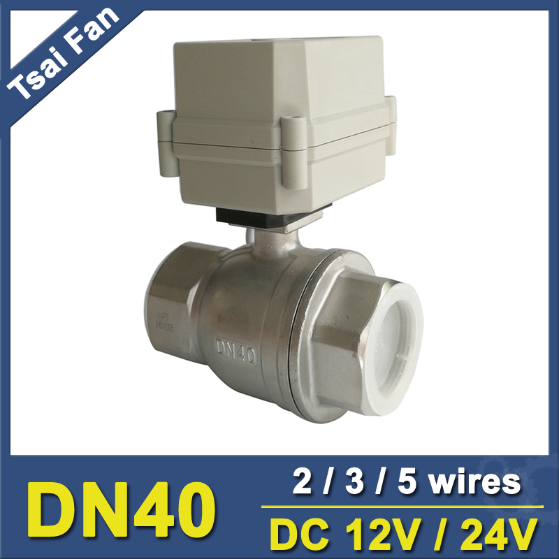 DC12V/24V Stainless Steel 304 1-1/2'' DN40 Full Port Actuated Ball Valve 2 Way Metal Gear IP67 For Water Control Application tf20 s2 c high quality electric shut off valve dc12v 2 wire 3 4 full bore stainless steel 304 electric water valve metal gear