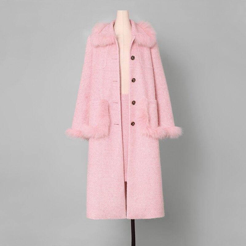 Mélanges Long Avec Manteau Automne Femelle Unique Hiver Rose Marque Jupe Doux Femmes Laine Ab138 Casual Poitrine Outwear Vêtements nx46EF