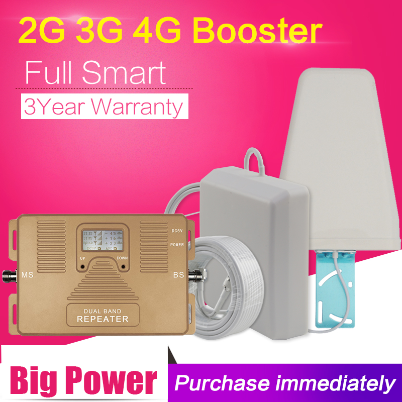 Full Smart 2G 3G 4G Signal Booster GSM WCDMA LTE 1800 2100 Mobile Signal Booster LTE Repeater 3G 4G Cell Phone Booster Amplifier