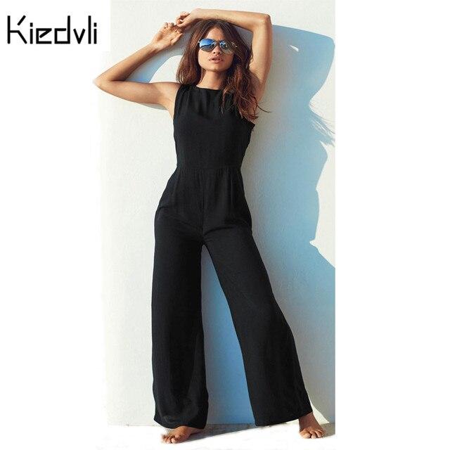 Chiffon Rompers Womens Sleeveless Backless Jumpsuit Summer Fashion Women's Elegant Navyblue Pants Women Long Overalls D0224