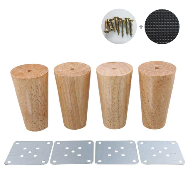 4 Piece 10cm Furniture Parts Sofa Legs Solid Wood Tapered Reliable Tea Table