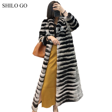 SHILO GO Fur Coat Womens Winter Fashion laple collar Real Rex rabbit fur coat long sleeve big skirt x-long coat