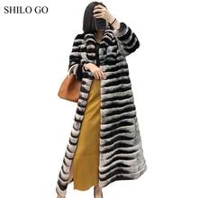 SHILO GO Fur Coat Womens Winter Fashion laple collar Real Rex rabbit fur coat long sleeve big skirt x-long coat