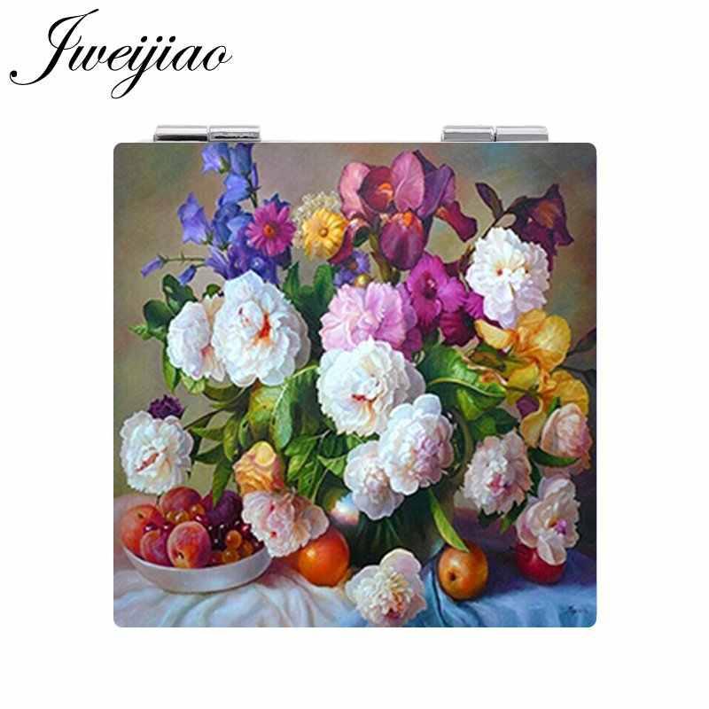 JWEIJIAO جميلة الزهور بوعاء مصنع الفاكهة الصورة مرآة لوضع مساحيق التجميل البسيطة للطي مربع 1X/2X المكبرة بو الجلود مرآة جيب
