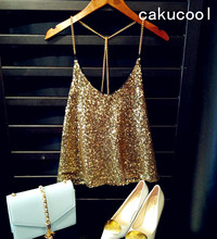 Cakucool Women Sexy Shiny Sequined Camis Top Metal Chain Spaghatti Party Camisole Backless All Sequins Embellished