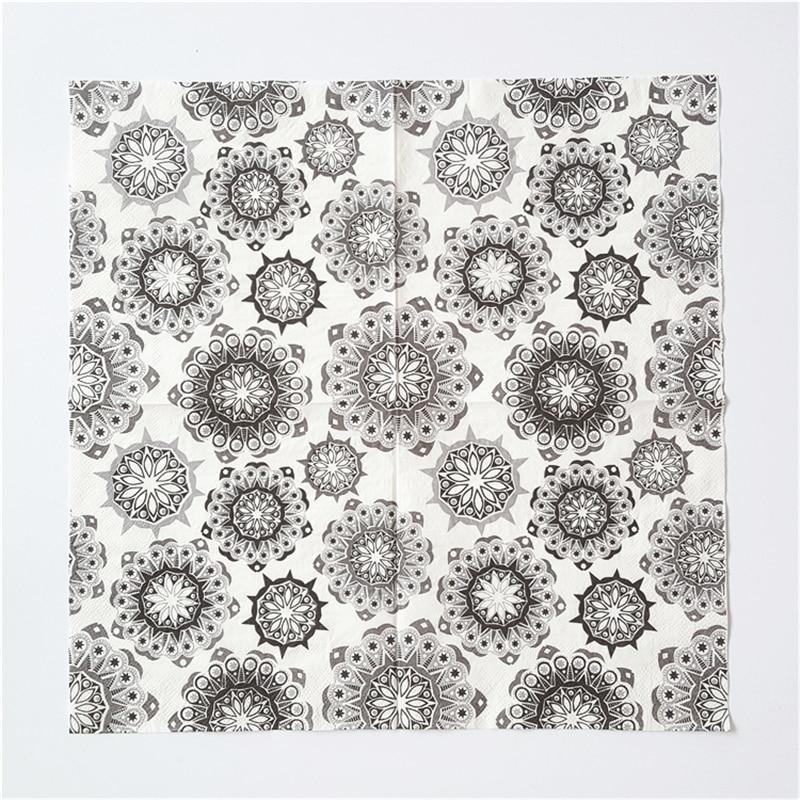 Vintage servilleta decoupage servilletas servilletas de papel del banquete de boda decoración festival cóctel de tejido impreso negro blanco azul de la flor