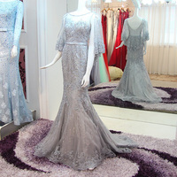 Real Photos Luxury Beaded Silver Mermaid Prom Dress with Cape Unique Design Elegant Lace Applique Long Evening Dress Formal Gown