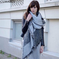 CUHAKCI 2017 Winter Fashion Women Plaid Blanket Scarf Female Cashmere Pashmina Wool Scarf Shawl Warm Thick