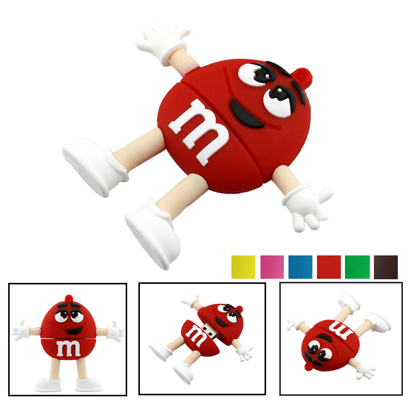 Lovely USB 2.0 Cartoon Chocolate M&M Rainbow Beans Candy USB Flash Drive 4GB 8G 16GB 32GB 64GB Pendrive Flash Memory Stick Gifts