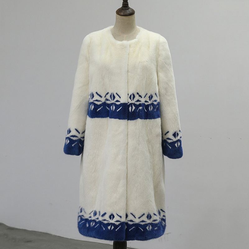 Y Slim Fansty2017 long Pleine Manteau Manteaux O Fleur cou Beige Fourrure Femmes Manches Motif Imprimer Bleu Réel X M D'hiver Vison De Blanc Rdf5wRHq