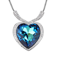 Heart of ocean pendant necklace women Crystal heart shaped pendants necklaces for girl female brand jewelry