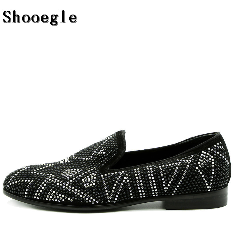 SHOOEGLE Brand Designer Loafer Shoes Diamond Leather Shoes Fashion Mens Leisure Shoes Rhinestone Wedding Party Shoes Man 39-47SHOOEGLE Brand Designer Loafer Shoes Diamond Leather Shoes Fashion Mens Leisure Shoes Rhinestone Wedding Party Shoes Man 39-47