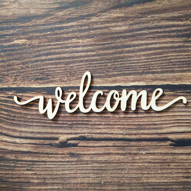 10pcs laser cut unfinished wood welcome script word sign wooden