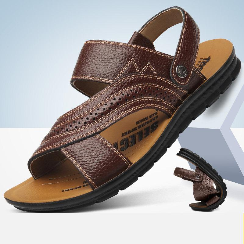 Men's Shoes Summer 2019 Men's Sandals Leather Youth Beach Shoes Trendy Leather Sandals Slippers Fashion Slides Zapatilla Hombre