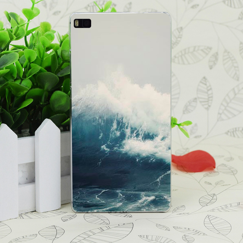 C1340 морская волна Прозрачный Жесткий Тонкий чехол кожного покрова для Huawei P 6 7 8 9 lite плюс Honor 6 7 4c 4x G7
